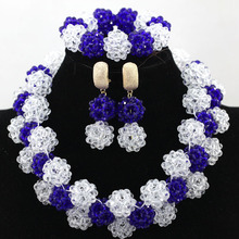 Simple White Mix Royal BlueAfrican Beads Jewelry Set Crystal Balls Chunky Necklace Set Rhinestone Pendant Free Shipping HX922