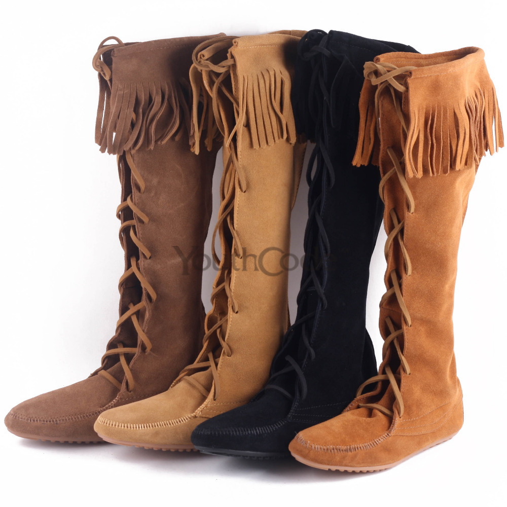 Moccasin Tall boots Fashion Boho Flat Fringed Faux Suede