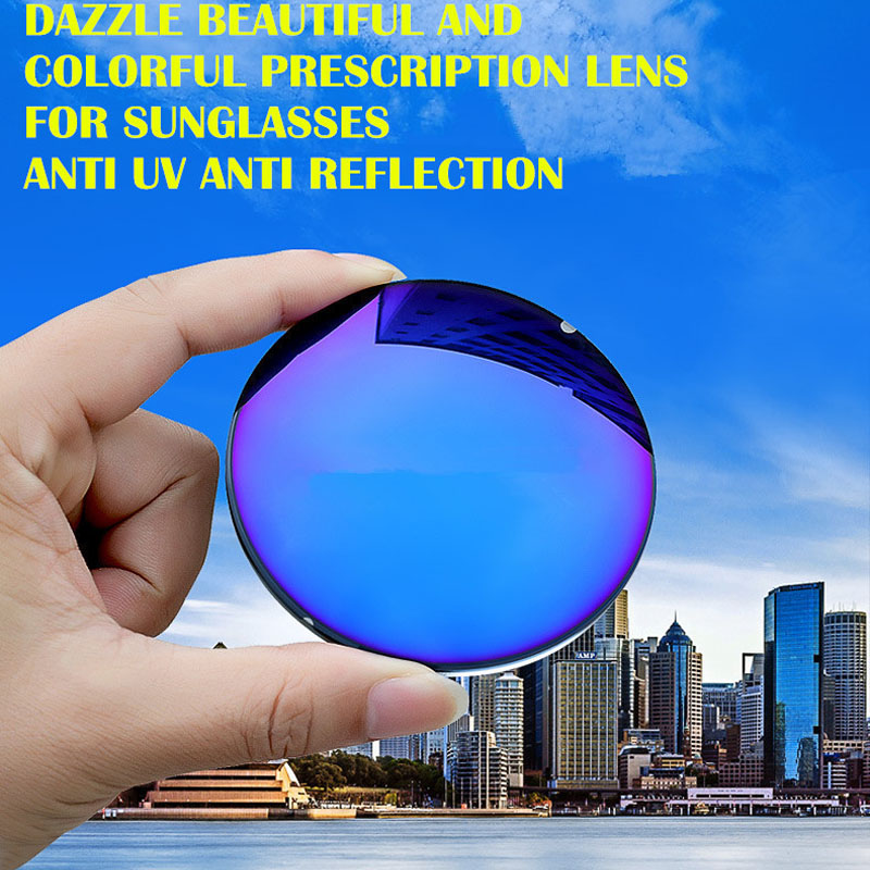 1.56 Indeksu receptes saulesbrilles Lēcas, kas izsmidzina spīdīgas modes saulesbrilles Lēcas miopijai / hiperopijai pret UVA / UVB pret atspīdumu