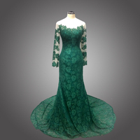 2016 Elegant Mermaid Long Sleeve Lace Emerald Green Lace Evening Dress Sexy Sheer Evening Prom Dresses