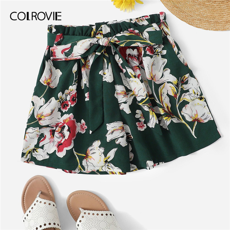 COLROVIE Green Self Tie Floral Print Elastic Waist Boho Summer   Shorts   Women 2019 Summer Wide Leg Belted Beach Casual   Shorts