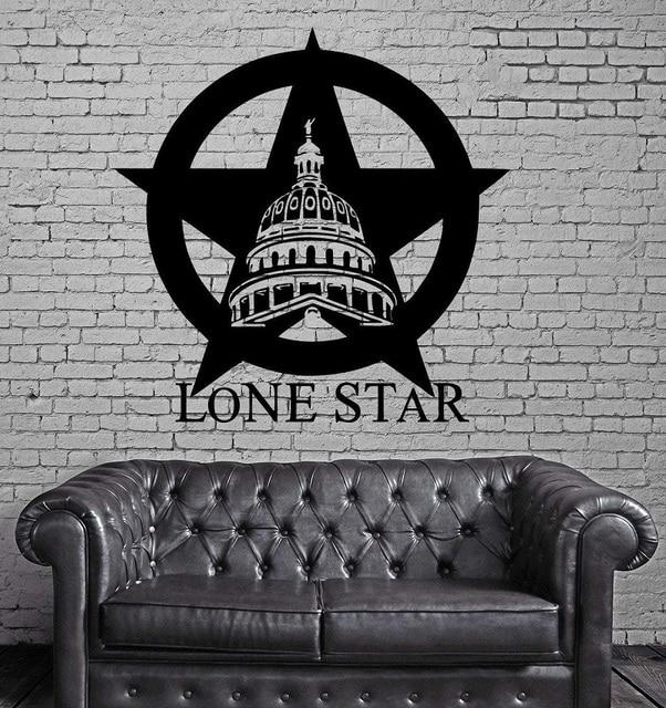 Texas Lone Star Da Bò Bang USA Bản Đồ Trang Trí Tường Bức Tranh Tường Vinyl Nghệ Thuật Miếng Dán Phòng Khách Phòng Ngủ Trang Trí Nhà 2DT1