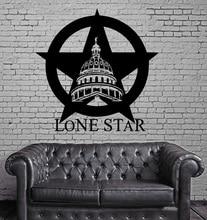 Texas Lone star Cowboy Stato USA Mappa Decorazione Della Parete MURALE di Arte Del Vinile Autoadesivo della parete del Salone Camera Da Letto Complementi Arredo Casa 2DT1