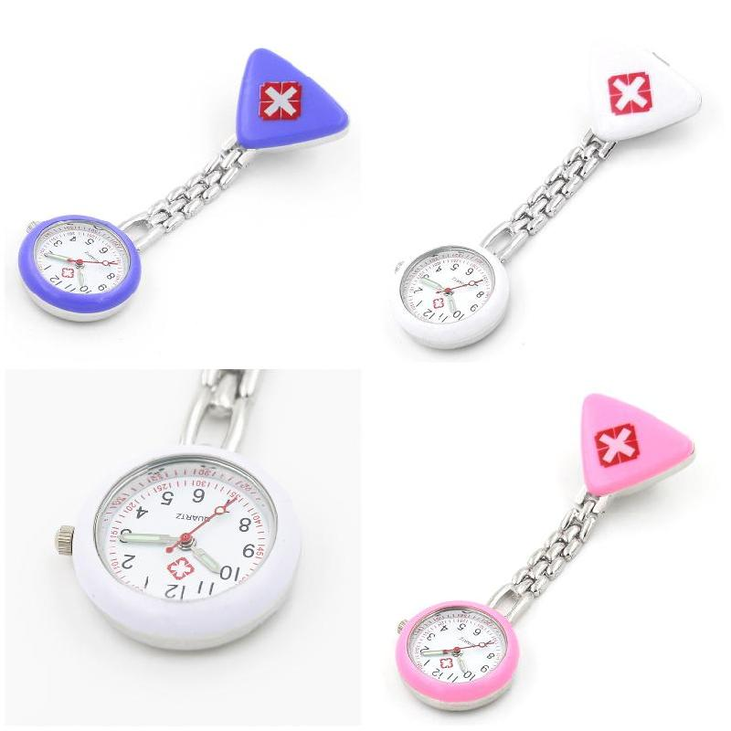 Protable Nurse Watches With Clip Red Cross Brooch Pendant Pocket Hanging Doctor Nurses Medical Quartz Watch FS99