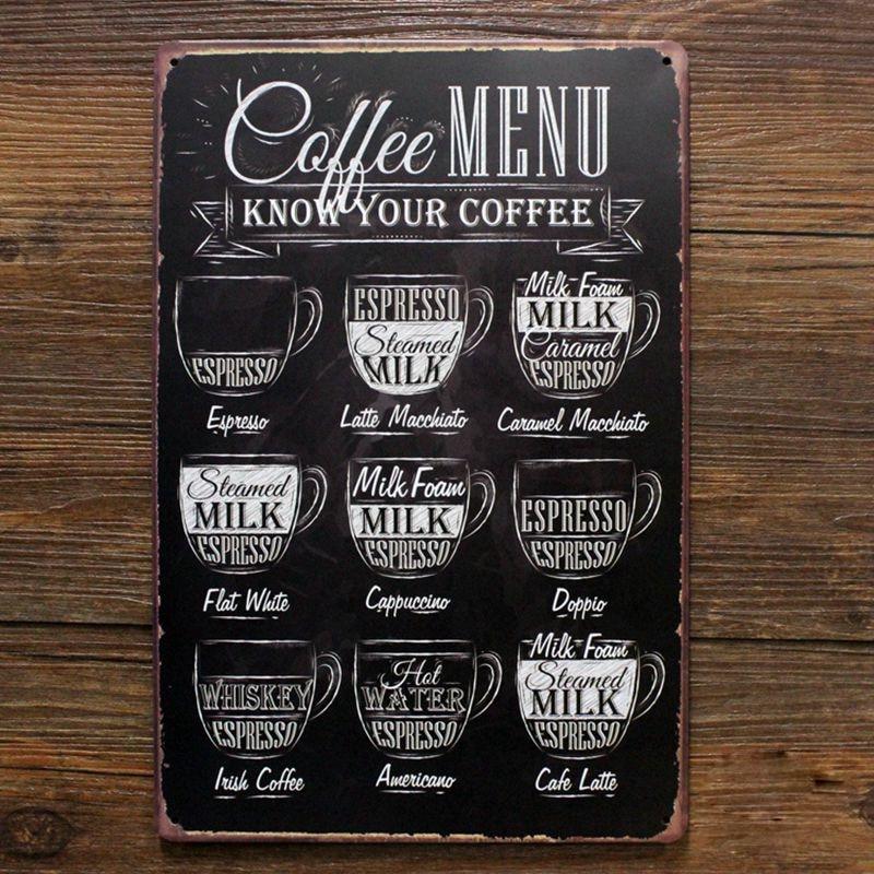 Buy now Coffee menu know you coffee. retro tin sign vintage metal signs antique