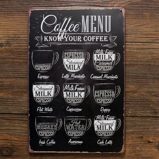 Coffee menu know you coffee retro tin sign vintage metal signs