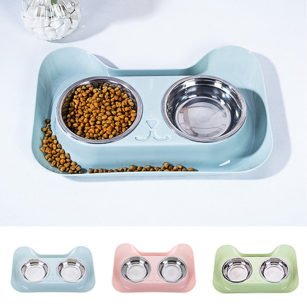 1pc Durable Double Stainless Steel Dog Cat Bowls With Non-spill & Non-skid Design For Pet Food And Water Elevated Feeder#290914