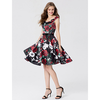 TS CoutureA-Linie Fit & Flare High Neck Knielangen Chiffon Spitze Cocktail Party Homecoming Prom Kleid mit Perlen Appliques