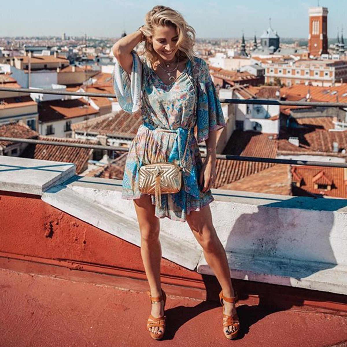 e0d604072c39 ... Jastie Gypsy Oasis Mini Dress Drop Waist Ruffle Hem Boho Beach Dresses  Pleated Sleeve Casual Women ...