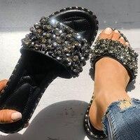 78bafce4c Women Casual Summer Flat Beach Slippers Female Crystal Rivets Slides  Slipper Shoes For Girls Fashion Woman. Mulheres Casuais Verão Praia Plana  Chinelos ...
