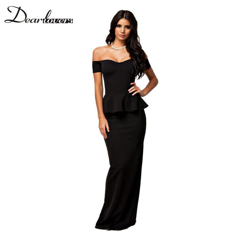 Vestidos De Fiesta Largos Elegantes Autumn Formal Maxi Dresses Black Short Sleeve Off Shoulder Women Peplum Party Dress LC6244