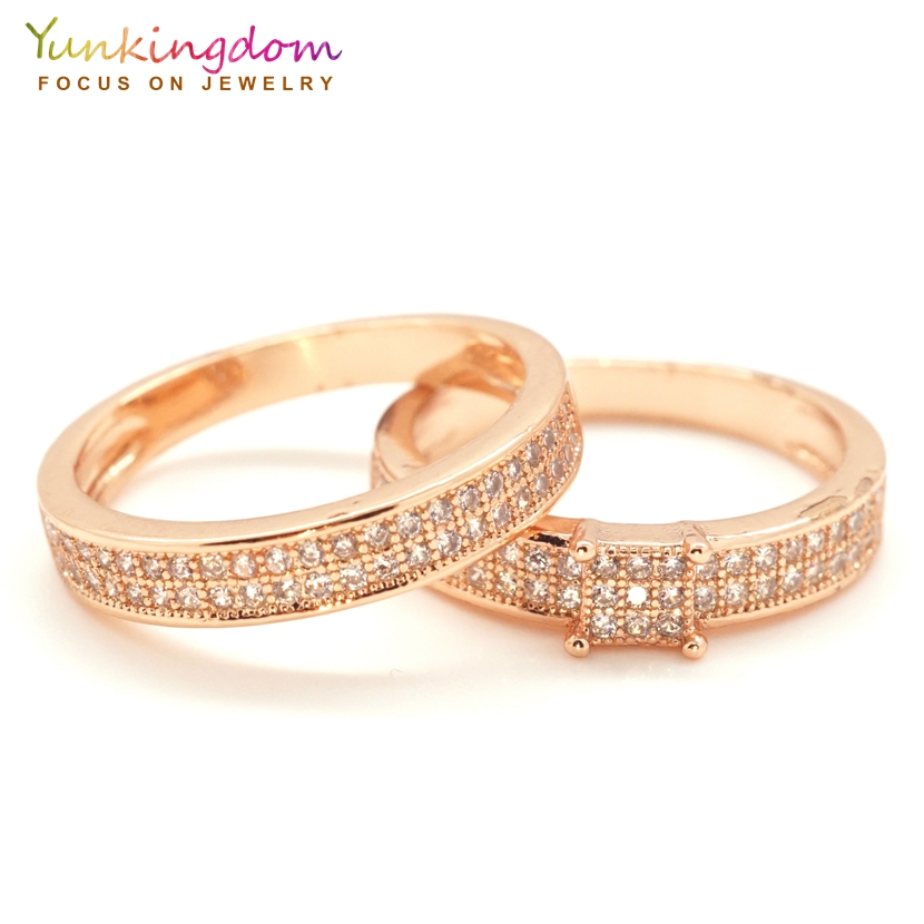 46c155e19c Yunkingdom new rose gold color cubic zirconia rings set for women female  trendy couple rings 2pcs/lot K2249