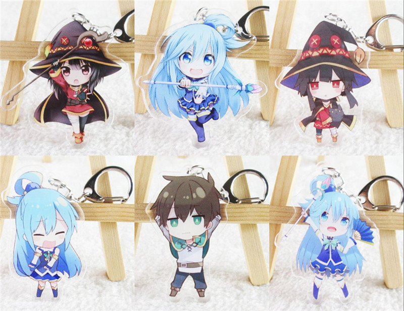 Anime Kono Subarashii Sekai ni Shukufuku wo! Megumin Acrylic Keychain Keyring Halloween Cosplay Keychain Pendant Keyring Gift