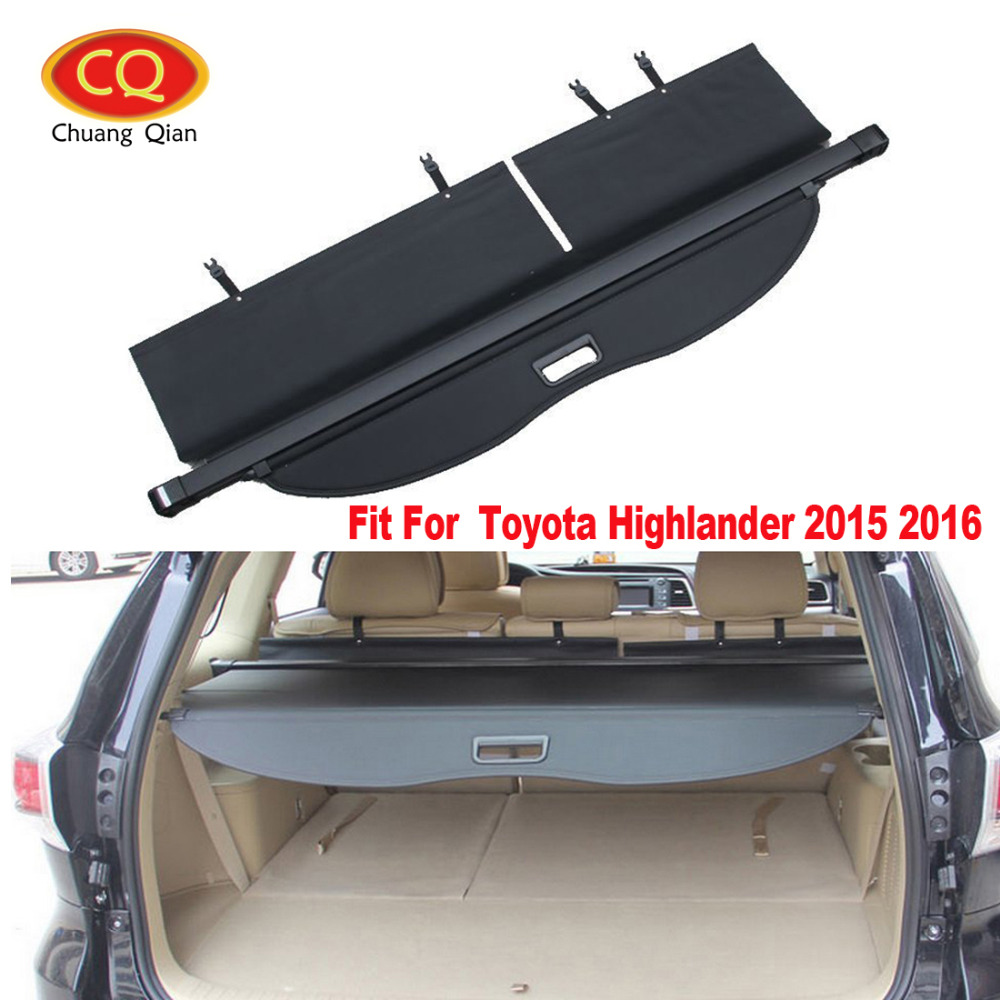 Chuang Qian Car Retractable Rear Trunk Shield Shade Cargo Cover For Toyota Highlander 2015 2016 Storage Holders Racks