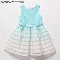 Cielarko Girls Striped Dress Elegant Gradient Blue Kids Summer Dresses Sleeveless Fancy Frock for Children Party Design Vestidos