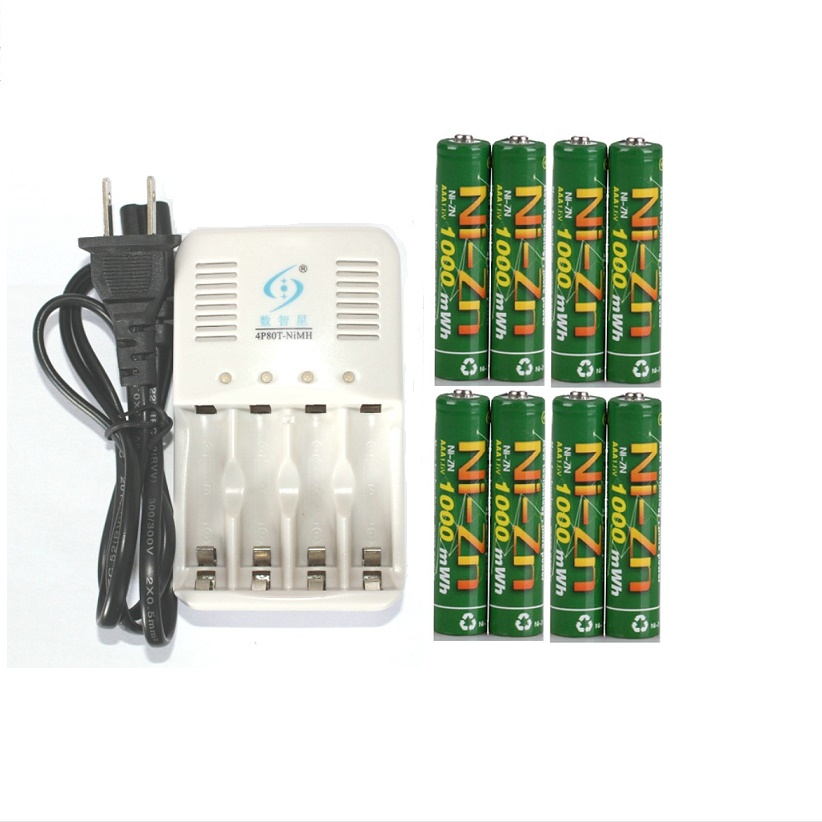 8 Pcs/lot 1.6v aaa 1000mWh rechargeable battery nizn Ni-Zn aaa 1.5v rechargeable battery + AA AAA Battery Smart Charger