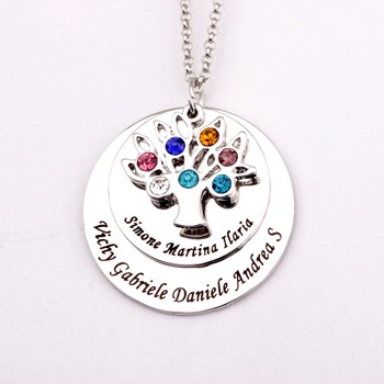 Personalized Family Tree Pendant Necklace with Birthstones New Arrival