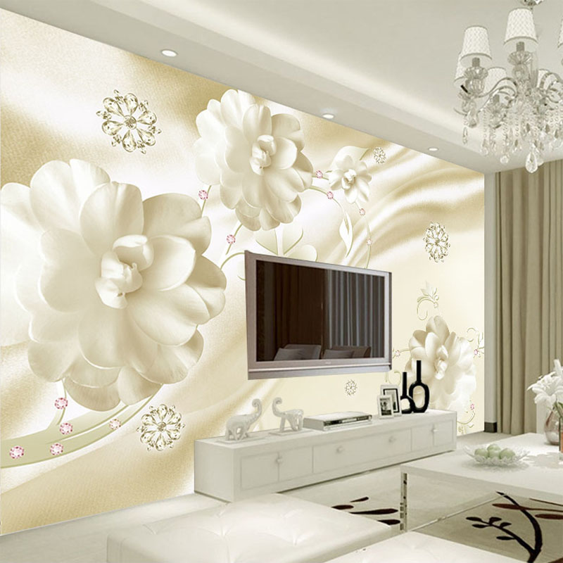 Custom Wall Mural Wallpaper Luxury European Style Jewelry Flowers Living Room TV Background Home Decor Wall Murales De Pared 3D custom mural wallpaper european style 3d stereoscopic new york city bedroom living room tv backdrop photo wallpaper home decor