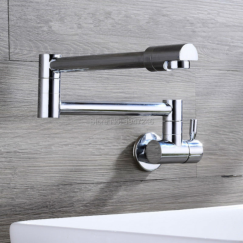 ФОТО Factory Direct 100% Solid Brass Deck Mount One Handle One Hole Pot Filler Faucet Only Cold Water With Lever Handles and a Swivel