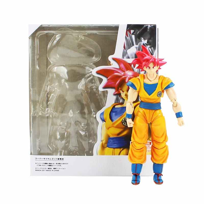 15 centímetros Dragon Ball Super Saiyan Deus Dragonball Action Figure Goku Son Goku Cabelo Vermelho PVC Collectible Toy Modelo