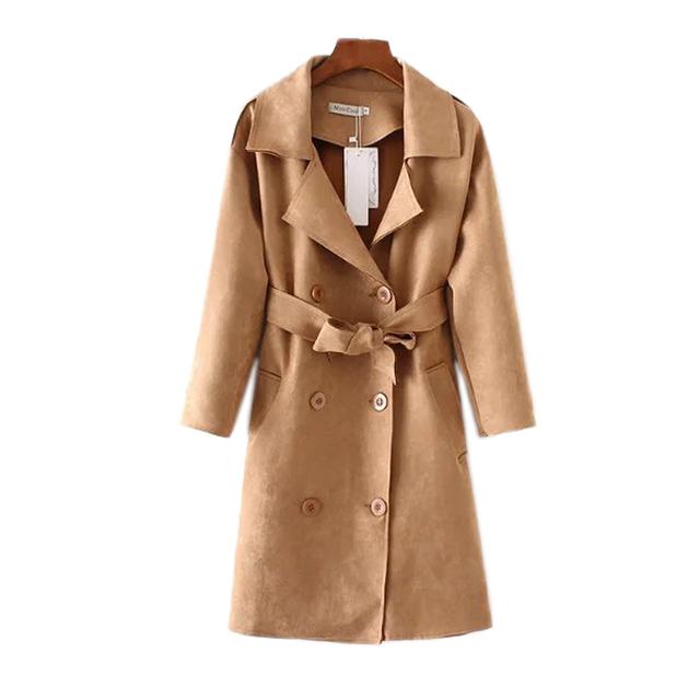 Otoño 2016 nuevo de las mujeres de longitud de la muchacha de la manera del todo-fósforo de la correa de doble botonadura abrigo de gamuza femenina