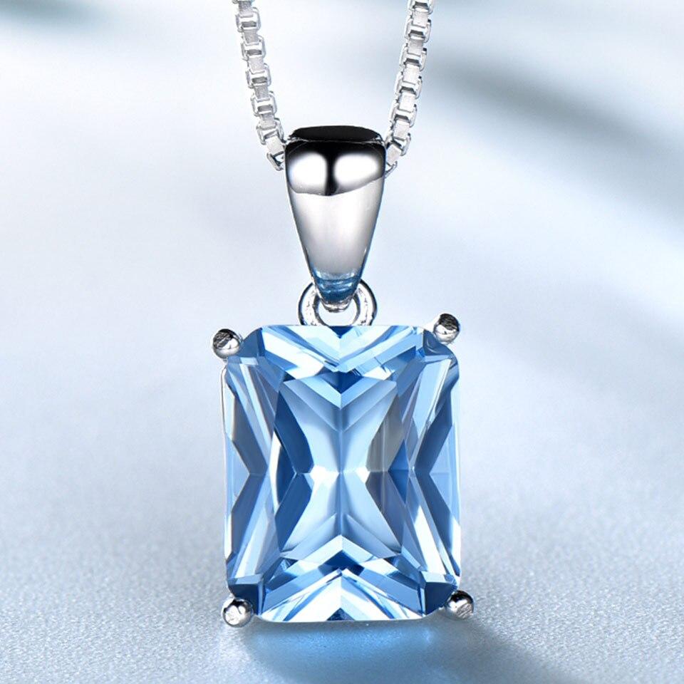 Ensembles de bijoux de mariage en topaze bleu ciel UMCHO pour femmes 925 bagues de fiançailles en argent Sterling collier pendentif Clip boucles d'oreilles - 4