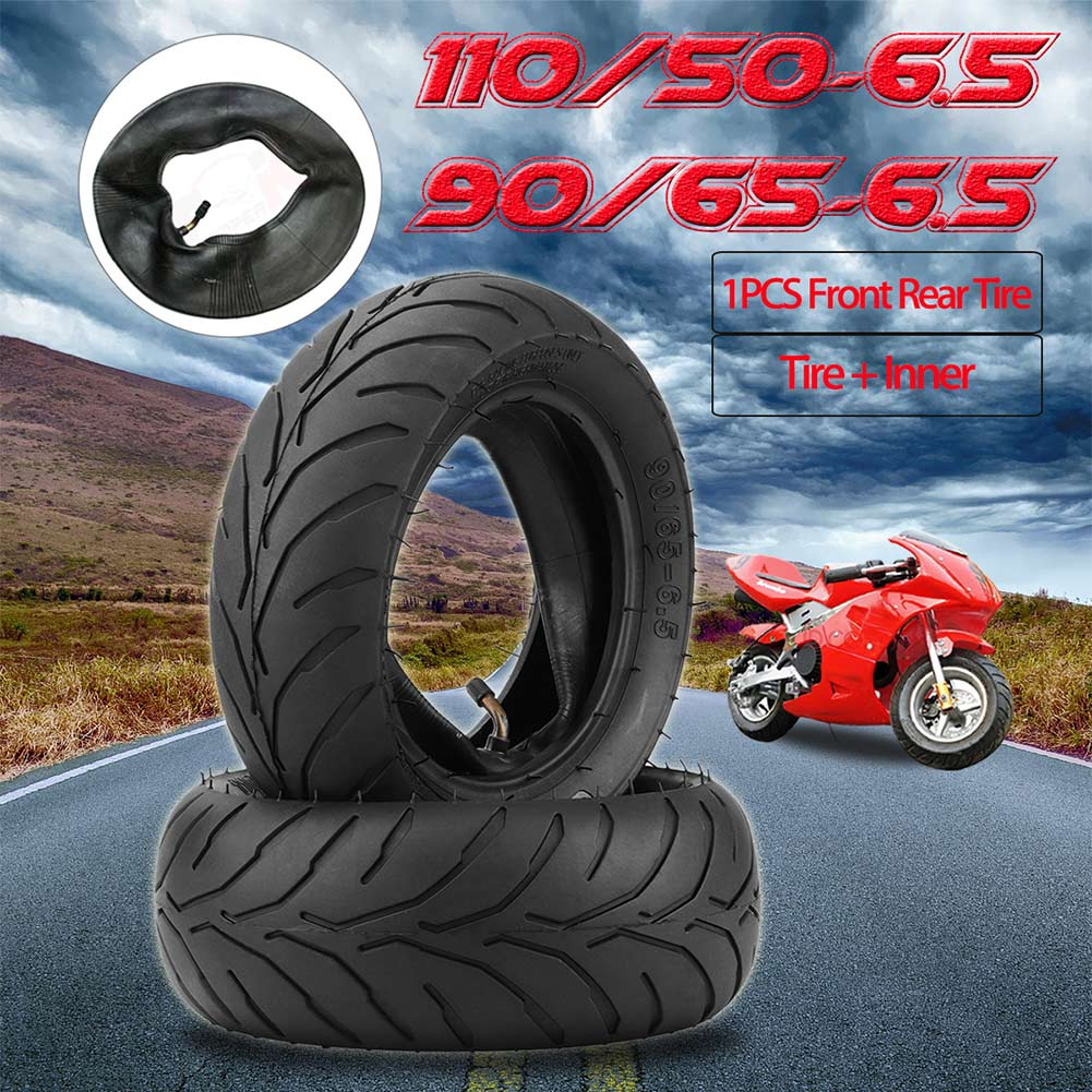 Front Rear Tire+Inner Tube 90/65/6.5 110/50/6.5 for 47cc 49cc Mini Pocket Bike Car Styling Tires     - title=