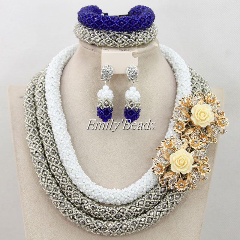 2015 Latest African Beads Jewelry Set Nigerian Wedding Indian Bridal Necklace Jewelry Set Hnadmade Jewelry Free Shipping AMJ427