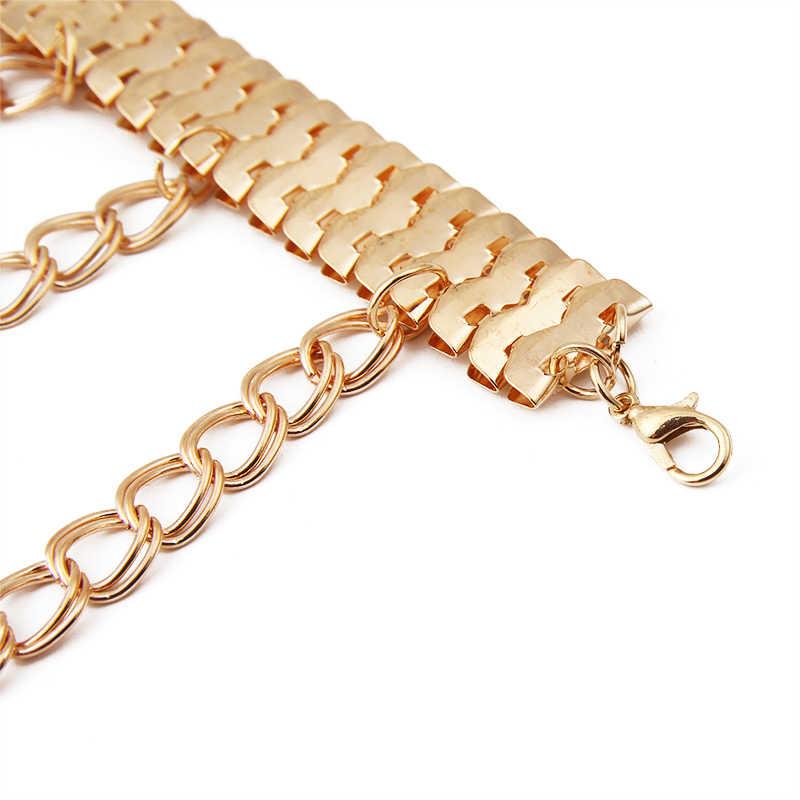 Tobillera dorada llamativa pulseras zapatos joyas con cadena para pies con drapeado y capas tobilleras de tacón para mujer 3K3015