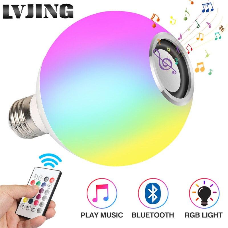Inteligente E27 RGB Branco 15W Reprodução de Música Bluetooth Speaker Lâmpada LED Pode Ser Escurecido Conduziu a Lâmpada Sem Fio com Teclas 24 controle remoto