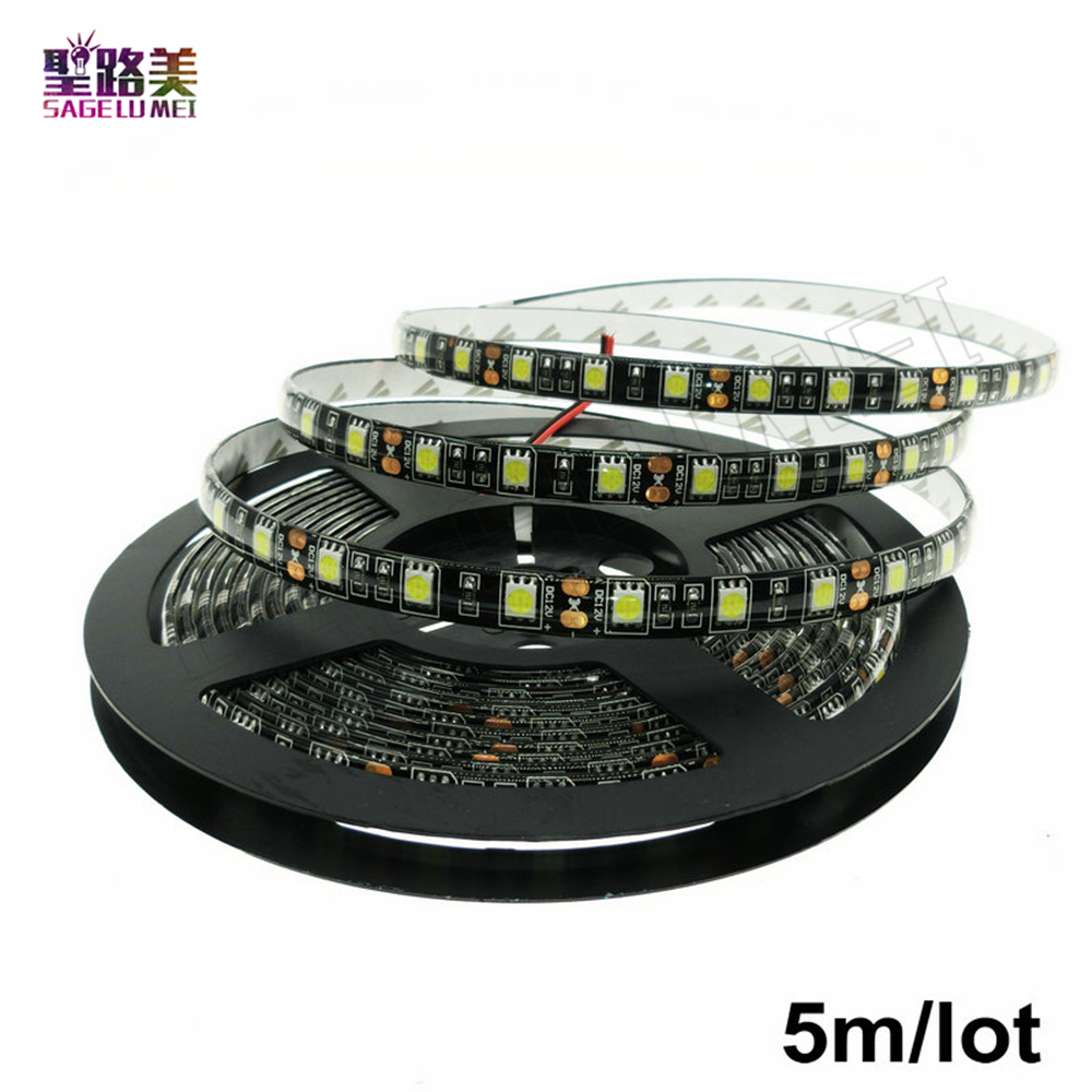 Free shipping 5m/roll 300LED Black PCB WaterproofIP65 5050SMD LED Flex strip DC12V 60led ...