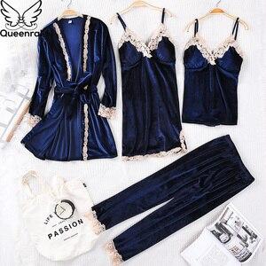 Image 4 - Queenral 4PCS חורף פיג מה סטים לנשים הלבשת הלבשה תחתונה פיג זהב קטיפה חם פיג מות סקסי תחרה חלוק פיג מה Nightwear
