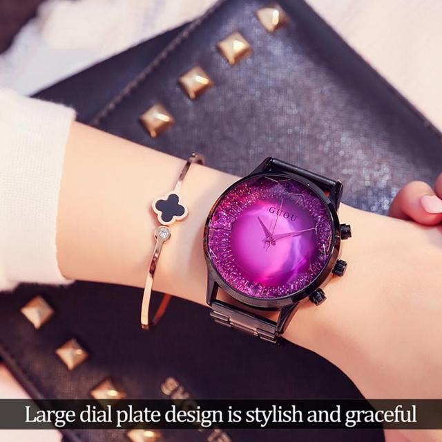 GUOU Big Dial Women Watch 2018 Luxury Brand Ladies Girls Bracelet Watch Fashion