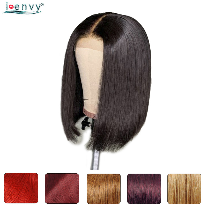 13X4 Short Bob Wigs Pre Plucked With Baby Hair Ombre Burgundy 99J Straight Lace Front Human Hair Bob Wig For Black Women Nonremy