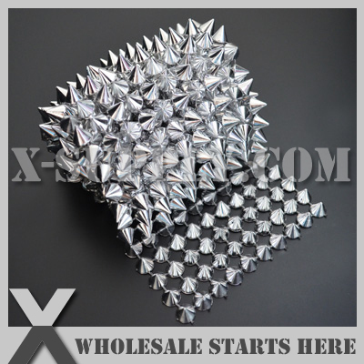DHL Free Shipping Plastic Silver Mesh Cone Stud Trim for Sewing on Garment Decoration,Clothing,Shoes/Wholesale