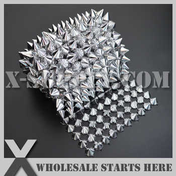 DHL Free Shipping Plastic Silver Mesh Cone Stud Trim for Sewing on Garment Decoration,Clothing,Shoes/Wholesale - DISCOUNT ITEM  0% OFF All Category