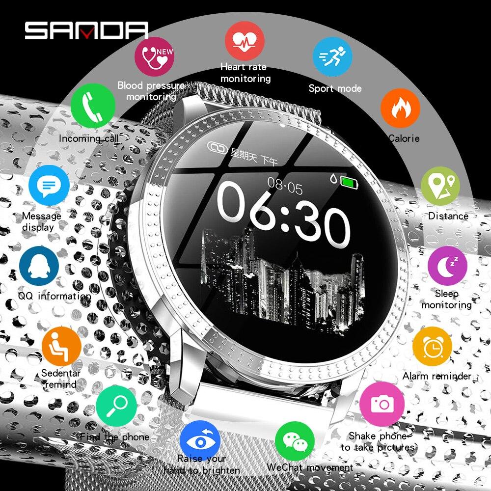 SANDA montre intelligente femmes hommes fréquence cardiaque moniteur de pression artérielle Tracker sport Bluetooth montres pour iOS Android