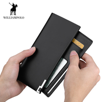 WILLIAMPOLO Wallet Men Genuine Leather Bifold Long Wallets Ultra Slim Purse Card Slots Cash Pocket Removable Card Holder 87