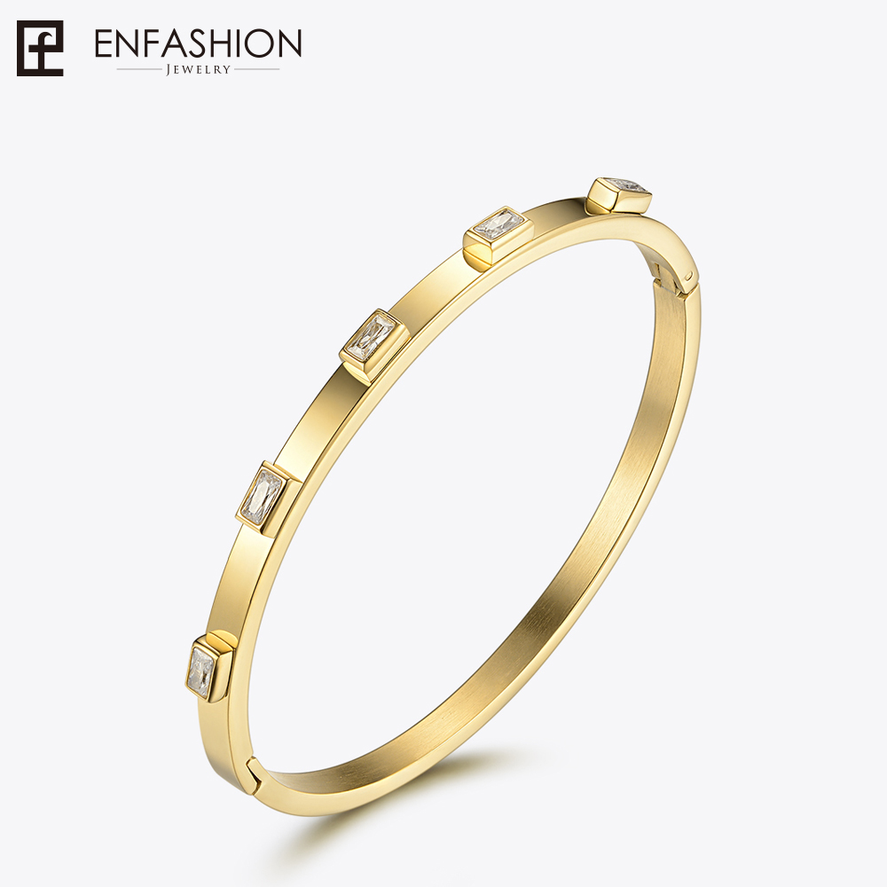 Enfashion Zirconia Crystal Cuff Bracelet Manchette Gold color Stainless Steel Bangle Bracelet For Women Bracelets Bangles 172002 enfashion basic cuff bracelet manchette gold color stainless steel bangle bracelet for women and men bracelets bangles pulseiras