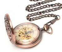 2010 Vintage Copper Hollow Case Pocket Watch Chain Fob New