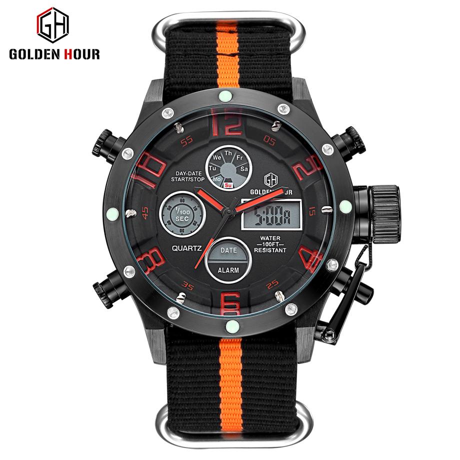 Prix pour Luxe de Marque de Dessus Hommes Sport Militaire Montres Hommes Quartz LED Numérique Heure Horloge Mâle Sangle En Nylon Montre-Bracelet Relogio Masculino
