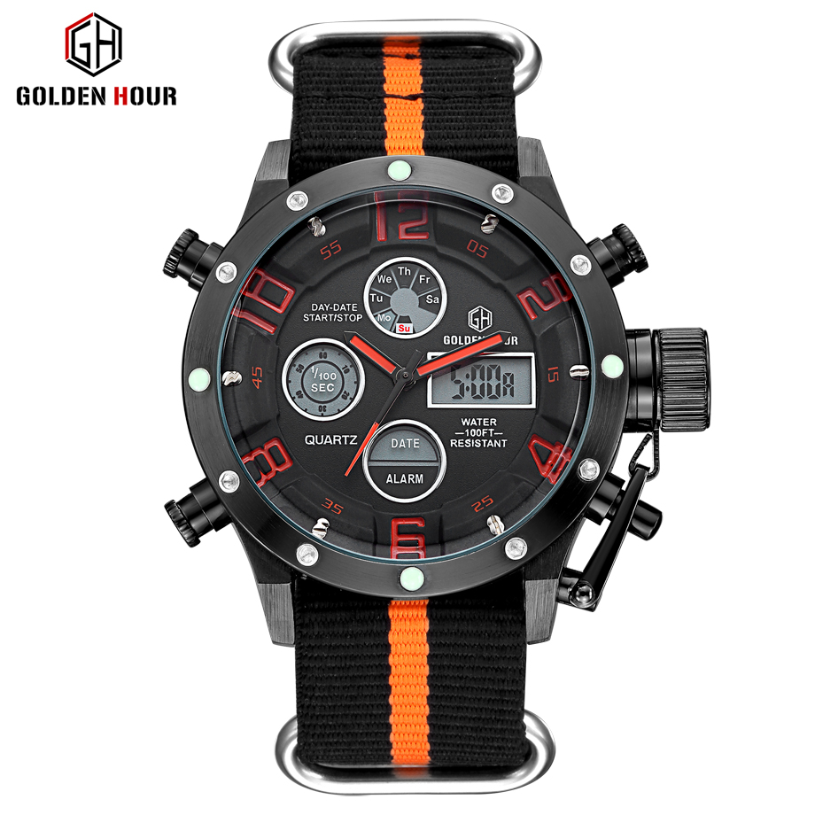 Luxury Top Brand Men Military Sports Watches Men Quartz LED Digital Hour Clock Male Nylon Strap