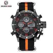 Luxe de Marque de Dessus Hommes Sport Militaire Montres Hommes Quartz LED Numérique Heure Horloge Mâle Sangle En Nylon Montre-Bracelet Relogio Masculino