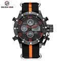 Top de luxo Da Marca Homens Esportes Militares Relógios de Quartzo dos homens LEVOU Digital de Hora do Relógio Masculino Canvas Strap Relógio de Pulso Relogio Masculino