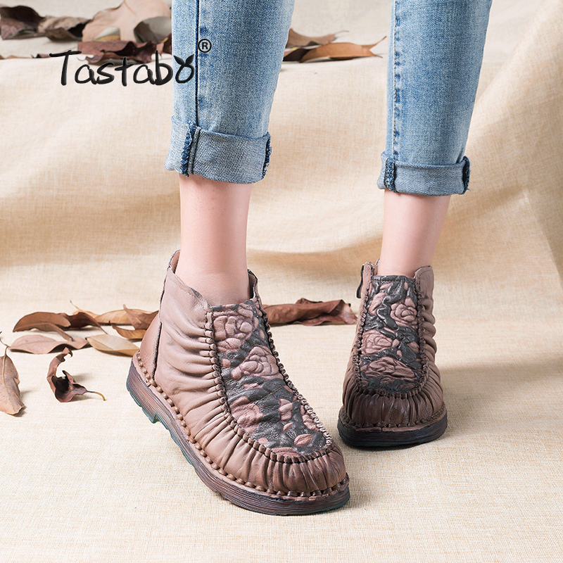Tastabo 2017 Handmade Boots For Women Warm Velvet Genuine Leather Ankle Shoes Vintage Mom Women Shoes Retro Martin Boots tastabo 2017 fashion handmade boots for women genuine leather ankle shoes vintage mom women shoes round toes martin boots
