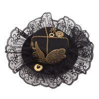 Women Vintage Steampunk Mini Top Hat Headband Lace Hair Clip Wing Gear Gothic Hairpin Headwear