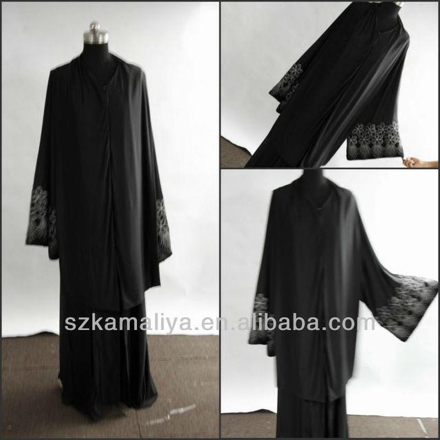 2286ece3b2832 New Arrival Arabic DUBAI abaya hand design Style v-neck Emboridered black  long sleeve chiffon muslim Dress with long jacket