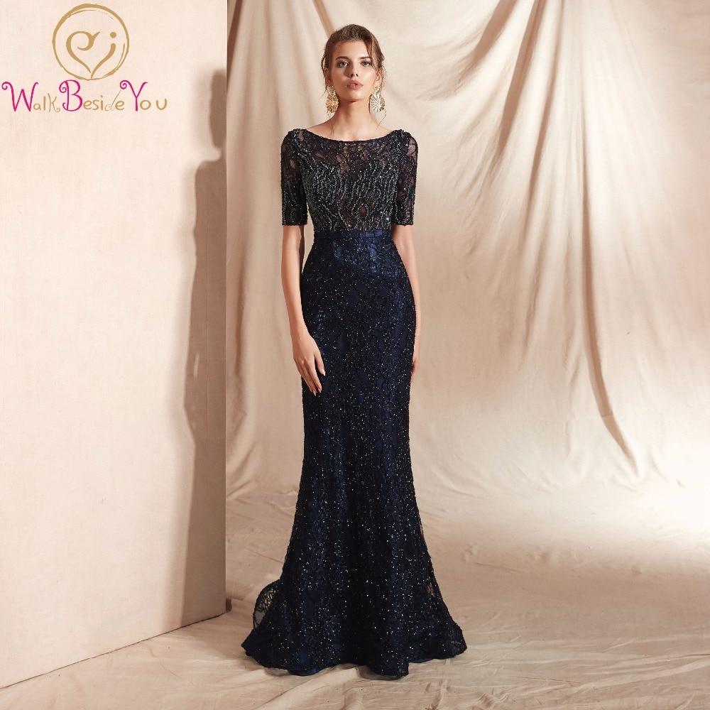 2019 Scoop Evening Dress Long Mermaid Cap Sleeve Prom Gown Formal dress beading Sexy Lace Vintage Empire vestido de festa