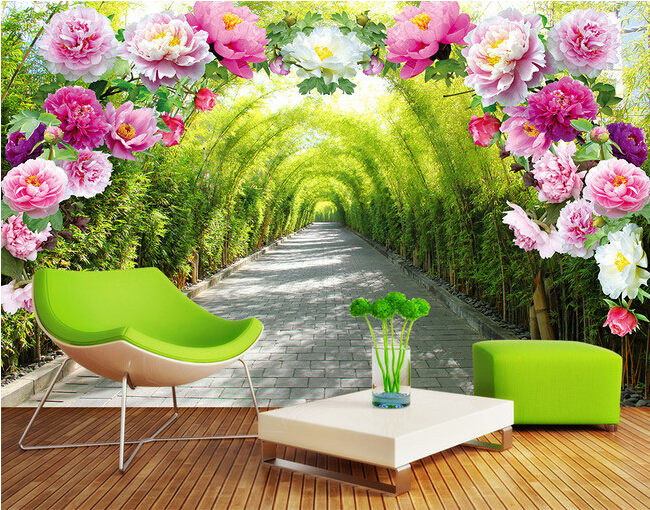 Custom garden wallpaper,3D flowers corridor landscape murals for the living room bedroom TV background wall waterproof wallpaper custom green forest trees natural landscape mural for living room bedroom tv backdrop of modern 3d vinyl wallpaper murals