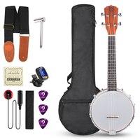 Vangoa 23 Inch 4 Strings Concert Banjo Ukulele Banjolele Banjos Kit Sapele Wood Acoustic